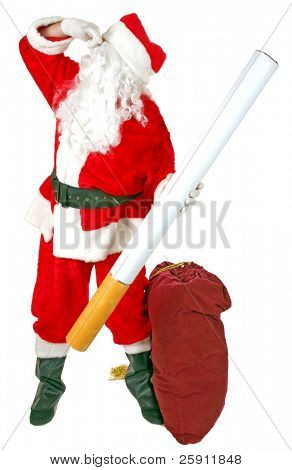Santa Claus holds a Giant Cigarette and and pinches his nose as he says NO SMOKING  isolated on white