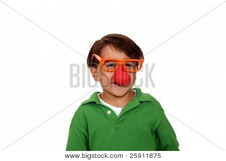 a young boy laughs and giggles while wearing silly clown glasses with a rubber nose