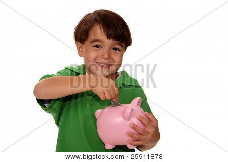 a young boy saves for his future in this concept shot of retirement and savings