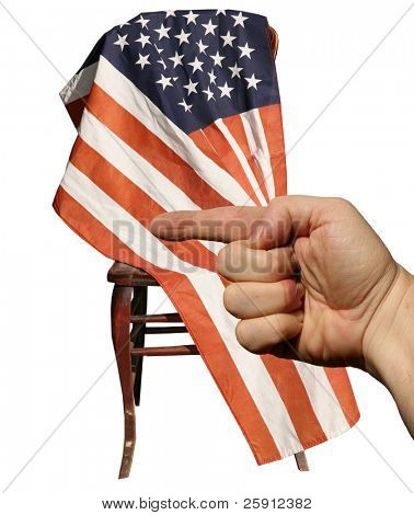a human hand points to the left infront of an american flag while isolated on white