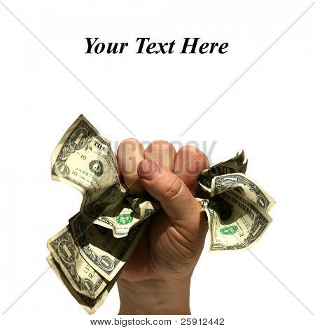 a human hand holds a fist full of money isolated on white with easily removable
