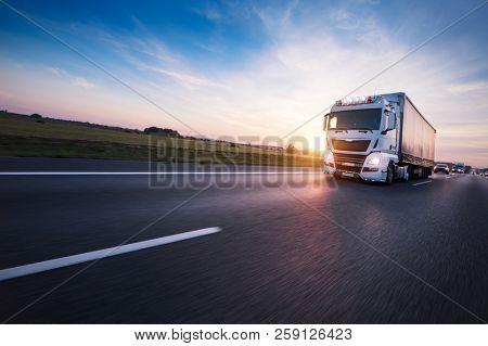 Loaded European truck on motorway