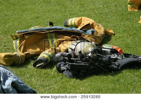 LAGUNA BEACH, CA - FEB 19: Firefighter breathing apparatus at the local Fire Department training area on February 19, 2009 in Laguna Beach, California.