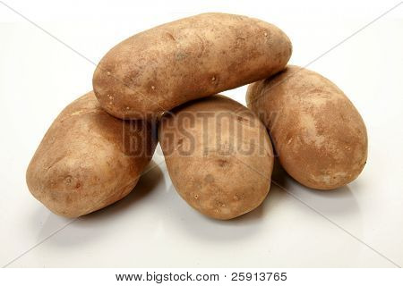 Russet Potatoes isolated on white