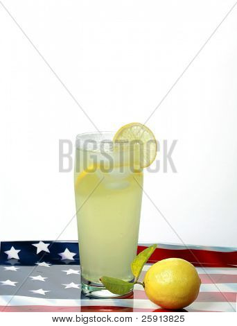 a glass of lemon aide and a fresh lemon on an american flag serving tray