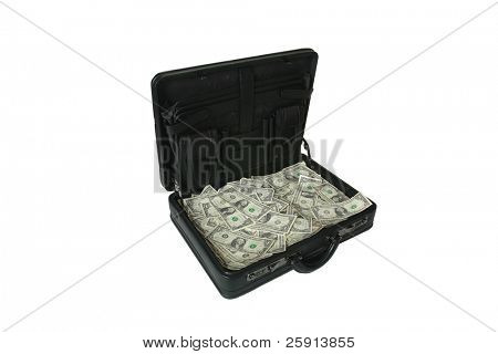 brief case full of cash isolated on white