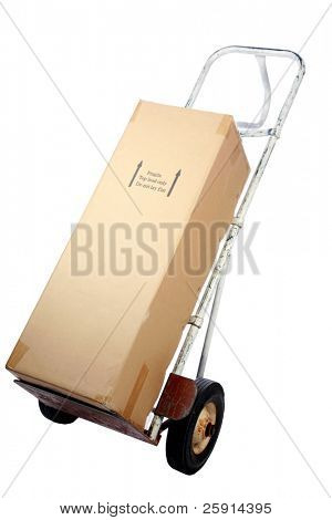 a hand-truck with a cardboard box  isolated on white