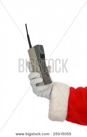 Santa holds a 1980s era