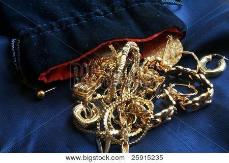 Old Gold  jewelry on Blue Silk