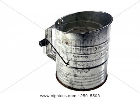 antique flour sifter isolated on white room for your text