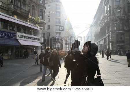 VIENNA, AUSTRIA - NOVEMBER 15, 2011: The Girl Takes Photos in Vienna Street.