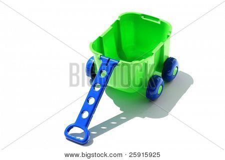 "green and blue plastic childrens wagon ""isolated on white"""