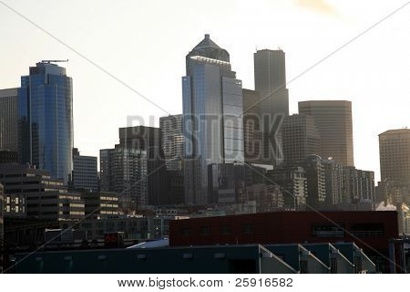 Downtown Seattle Washington at sunrise as seen from Elliot Bay