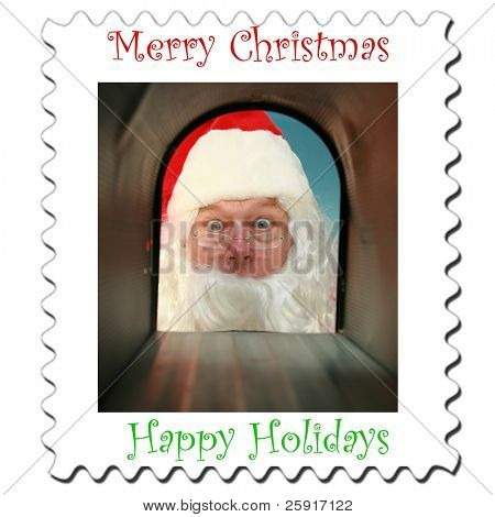 Christmas Stamps Featuring Santa Claus checking his mail box for Letters to Santa