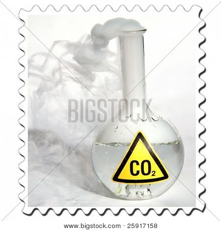 Frozen Carbon Dioxide, aka CO2 aka Dry Ice reacts violently when mixed with water, releasing CO2 into the enviroment stamp