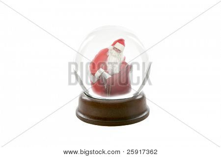 a fortune teller crystal ball shows a ghostly image of santa claus looking in his bag of gifts for you the viewer, showing your christmas future, isolated on white