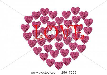 a Valentines Day Heart made from hot pink heart shaped roses isolated on white with the word LOVE in red