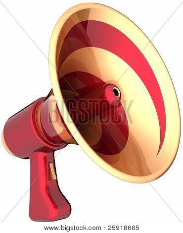 Megaphone news communication announcement symbol colored red golden