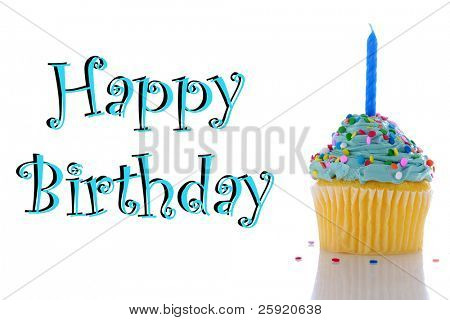 "a cupcake with blue frosting, sprinkles and a candle.  isolated on white with  ""happy birthday"""