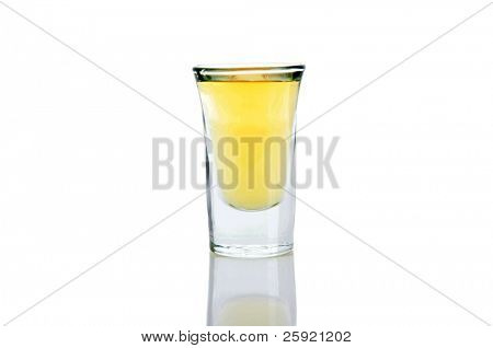 shot of tequila or whiskey isolated on white