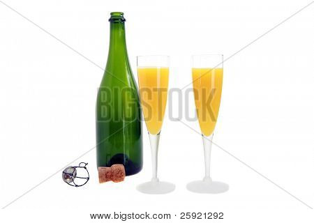 champagne and orange juice for mimosa's isolated on white