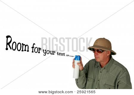 a man in a pith helmet sprays air freshener into the air isolated on white with room for your text or images