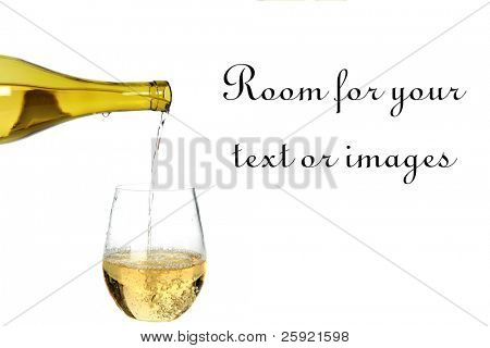 white wine being poured into a wine glass isolated on white with room for your text or images