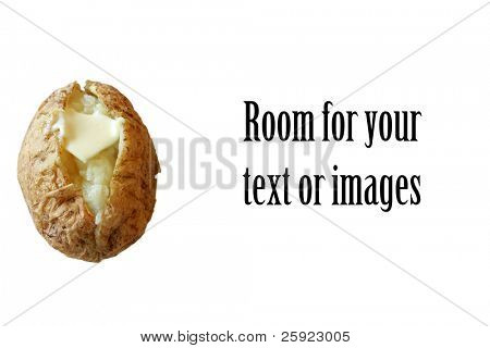 various shots of the perfect baked potato. Isolated on white with room for your text or images