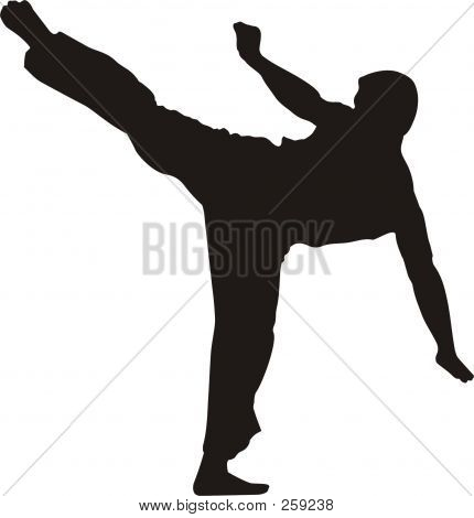 Karate Fighter Kicking #2 Silhouette