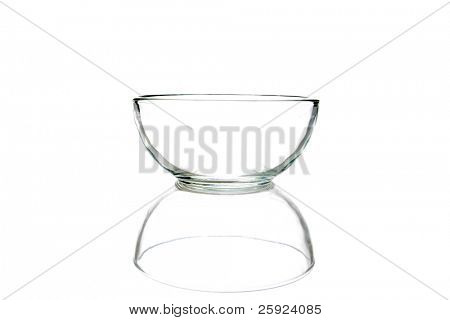 empty glass bowl with its mirror reflection isolated on white