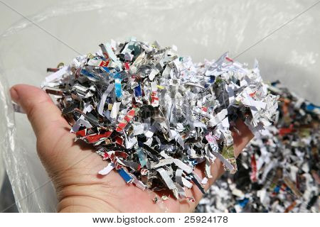 Shredded paper, shredded checks, credit cards and other sensitive information and more to prevent identity theft