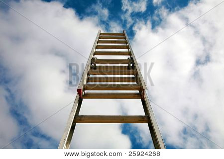 Jacobs Ladder (to heaven) or ladder to success, extention ladder extened into the sky. representing success in business, reaching for the stars or clouds, ladder of success, corporate ladder