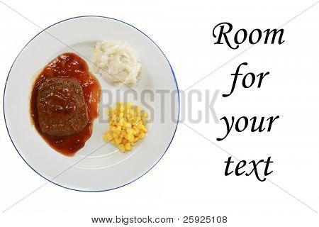 a delicious and nutritious classic Salisbury steak tv dinner with mashed potatoes and corn in its black plastic tray, isolated on white