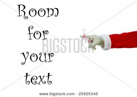 "A Santa Claus arm with a red bow on the index finger to remind everyone ""Don't Forget"" December 24th is Christmas Eve.  Isolated on white with room for your text or images"