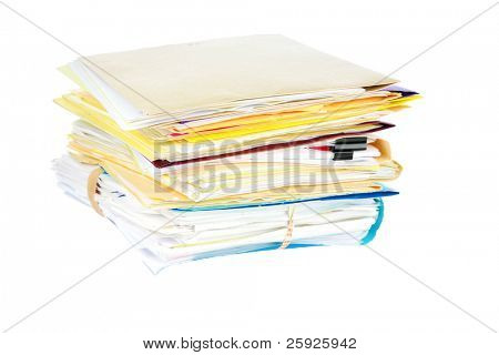 work and business files stacked high in folders isolated on white with room for your text