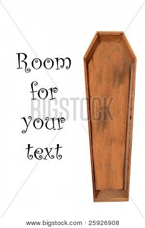 an old wooden coffin isolated on white with room for your text