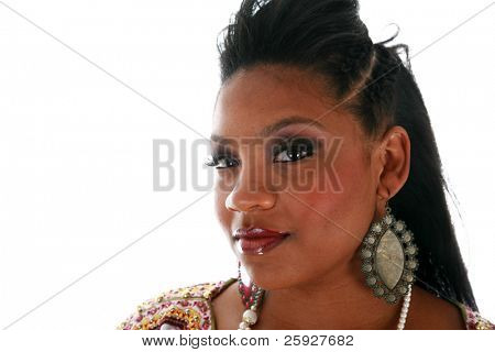 A beautiful african american female models hair for a Beauty / Fashion / Hair Style / Makeup photo shoot. Isolated on white with room for your text.