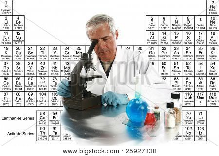 a medical research scientist or chemist works on a cure for something to help mankind. isolated on white with room for your text, with the