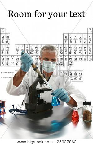 a medical research scientist or chemist works in his laboratory with the table of