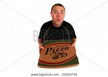 a pizza delivery man brings you Fresh Baked Pizza right to your door shot with a fisheye lens for a fun and funny image. isolated on white with room for your text. in a Generic pizza box