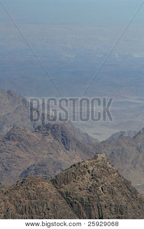 Summit of Mount Sinai aka Jebel Musa (2285 m) on Sinai Peninsula, Egypt.
