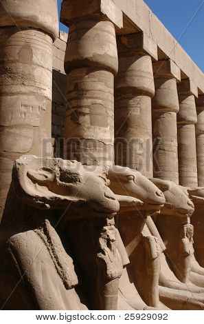 Ram-headed sphinxes in the Temple of Amun in Karnak near Luxor (Thebes), Egypt
