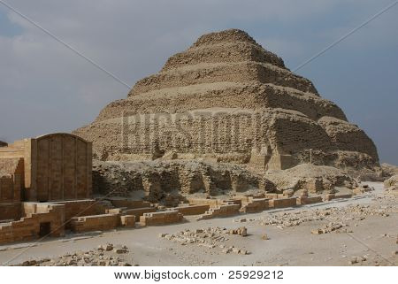 Step pyramid of Pharaoh Djoser in Saqqara near Cairo, Egypt