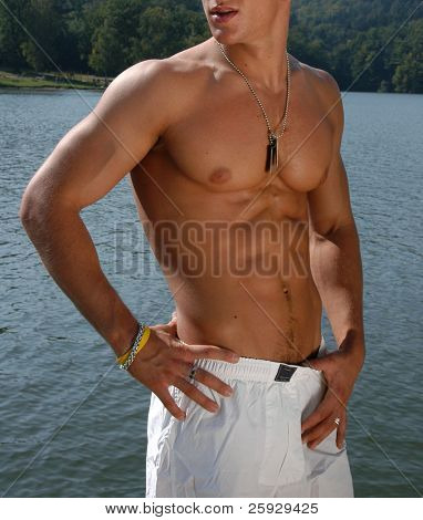 Muscular male torso with army tags