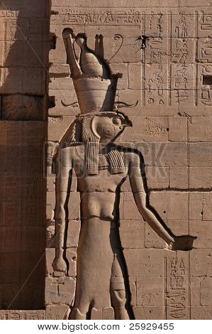Falcon-headed god Horus, a bas-relief from Temple of Isis on the Philae Island near Aswan, Egypt