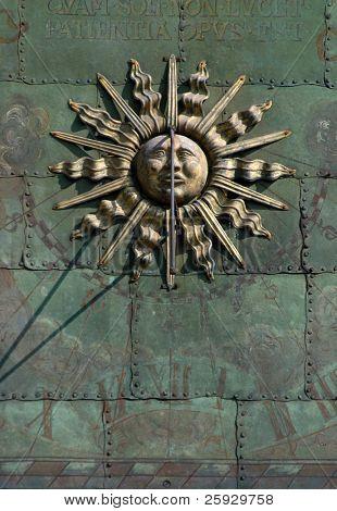 Gothic sun dial in Bouzov Castle, Czech Republic