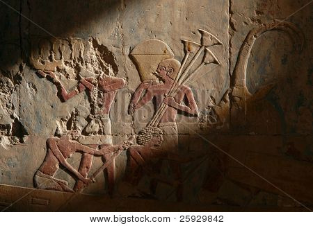 Egyptian rowing slaves from a bas-relief from Hatshepsut Temple near Luxor (Thebes), Egypt