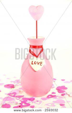 Pink Heart In Vase