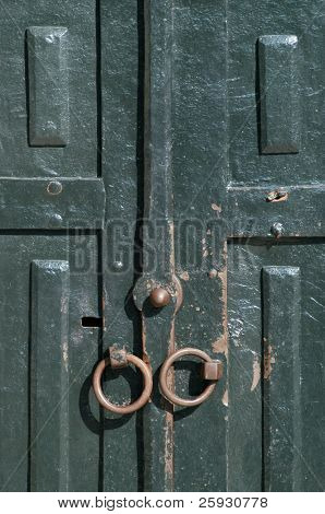 Wooden door of the sultan harem in Topkapi Palace in Istanbul, Turkey