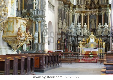 Cathedral Interior With Altar And Seats